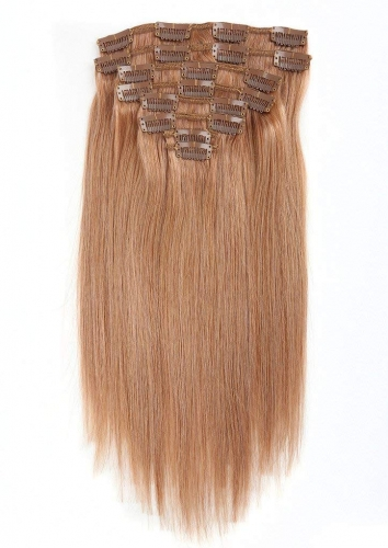 Straight 27# Ginger Blonde Clip in Hair Extensions 120gram