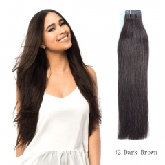 Straight 2# Dark Brown Tape Hair Extensions 20PCS