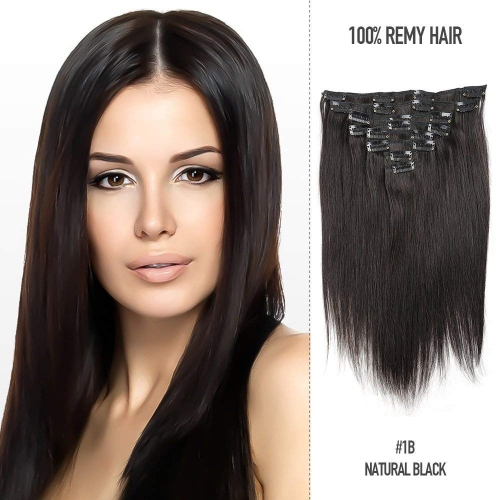 Straight 1b# Off/Nature Black Clip in Hair Extensions 100gram