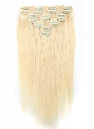 Straight 60# Platinum Blonde Clip in Hair Extensions 120gram