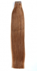 Straight 6# Medium Ash Brown Tape Hair Extensions 40PCS