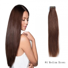 Straight 4# Medium Brown Tape Hair Extensions 20PCS