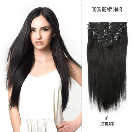 Straight 1# Jet Black Clip in Hair Extensions 100gram