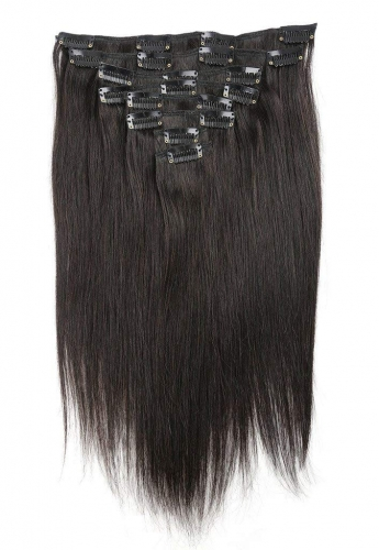 Straight 1b# Off/Nature Black Clip in Hair Extensions 120gram
