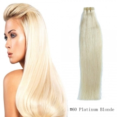 Straight 60# Platinum Blonde Tape Hair Extensions 20PCS