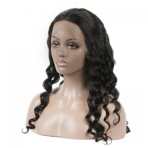 Loose Curly Human hair 360 Lace Wigs