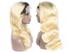 Body Wave Human hair 1b/613 Blond Full Lace Wigs
