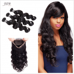 7A Brazilian Body Wave 3 Bundles With 360 Frontal