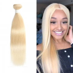 Straight 613 Blonde Human Virgin Hair Weave 7A