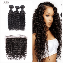 Indian Deep Wave 3 Bundles With Lace Frontal 13x4
