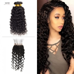 7A Brazilian Water Wave 3 Bundles With Lace Closure 4x4