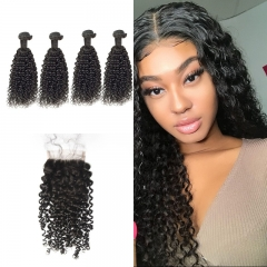 7A Brazilian Jerry Curly 4 Bundles With Lace Closure 4x4