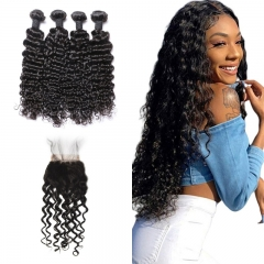10A Mongolian Water Wave 4 Bundles With Lace Closure 4x4