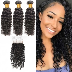 Indian Brazil Curly 3 Bundles With Lace Closure 4x4