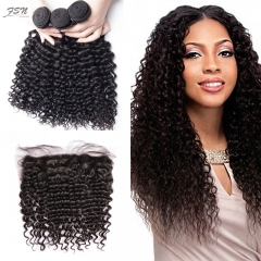 Malaysian Jerry Curly 3 Bundles With Lace Frontal 13x4