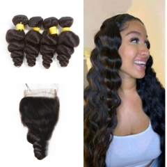 10A Mongolian Loose Wave 4 Bundles With Lace Closure 4x4