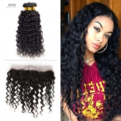 10A Mongolian Water Wave 3 Bundles With Lace Frontal 13x4