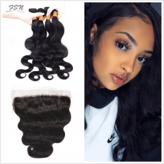 Brazilian Body Wave 4 Bundles With Lace Frontal 13x4