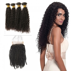 10A Mongolian Kinky Curly 4 Bundles With Lace Closure 4x4