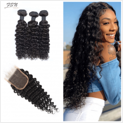 10A Mongolian Deep Wave 3 Bundles With Lace Closure 4x4