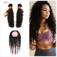 7A Brazilian Deep Wave 2 Bundles With 360 Frontal