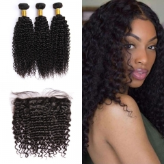 Indian Deep Curly 3 Bundles With Lace Frontal 13x4