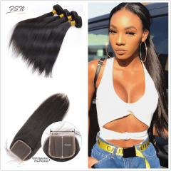 10A Mongolian Straight 4 Bundles With Lace Closure 4x4