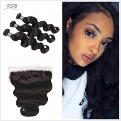 7A Brazilian Body Wave 3 Bundles With Lace Frontal 13x4