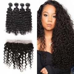 10A Mongolian Water Wave 4 Bundles With Lace Frontal 13x4