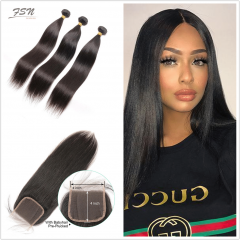 10A Mongolian Straight 3 Bundles With Lace Closure 4x4