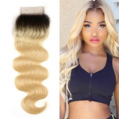 1B/613 Blonde Body Wave Lace Closure 4x4