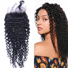 Brazilian Kinky Curly Lace Closure 4x4 New