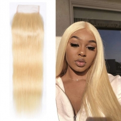 613 Blonde Straight Lace Closure 4x4