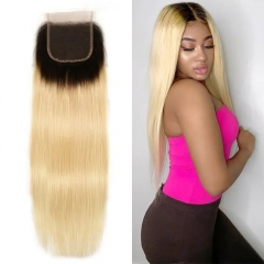1B/613 Blonde Straight Lace Closure 4x4