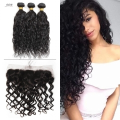 10A Mongolian Natural Wave 3 Bundles With Lace Frontal 13x4