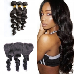 10A Mongolian Loose Wave 3 Bundles With Lace Frontal 13x4
