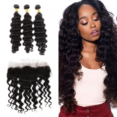 10A Mongolian Loose Curly 3 Bundles With Lace Frontal 13x4