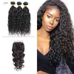 10A Mongolian Natural Wave 3 Bundles With Lace Closure 4x4