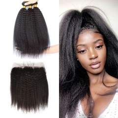 10A Mongolian Kinky Straight 3 Bundles With Lace Frontal 13x4