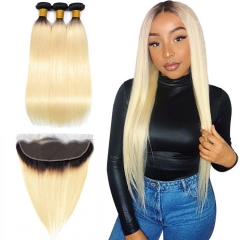 1B/613 Blonde Straight 3 Bundles With Lace Frontal 13x4