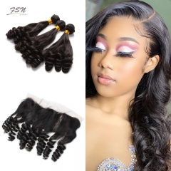 7A Brazilian Funmi 3 Bundles With Lace Frontal 13x4