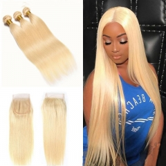 7A 613 Blonde Straight 3 Bundles With Lace Closure 4x4