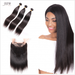 7A Brazilian Straight 3 Bundles With 360 Frontal