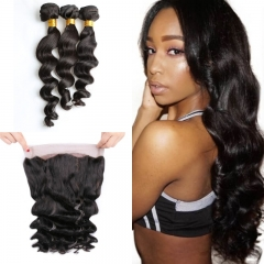10A Mongolian Loose Wave 3 Bundles With 360 Frontal