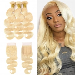 7A 613 Blonde Body Wave 3 Bundles With Lace Closure 4x4
