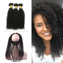 10A Mongolian Kinky Curly 3 Bundles With 360 Frontal
