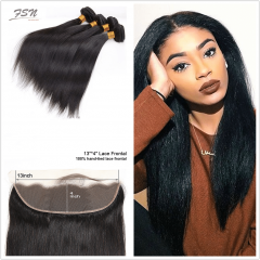 10A Mongolian Straight 4 Bundles With Lace Frontal 13x4