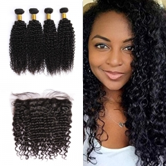 Indian Deep Curly 4 Bundles With Lace Frontal 13x4