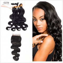 Indian Body Wave 4 Bundles With Lace Closure 4x4