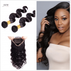 7A Brazilian Body Wave 2 Bundles With 360 Frontal